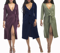 Women's Long Sleeve Formal Wrap Draped Cocktail V-Neck Gown Plus Size Dress - $29.99