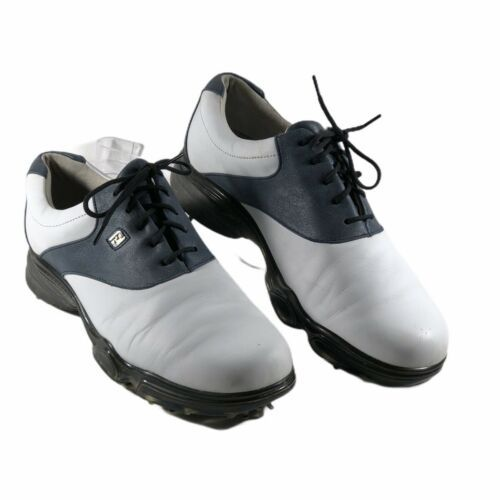Foot Joy dry-joy Womens size 7 M White & Gray blue Leather Lace up golf shoes - $24.74