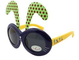 Detachable Dot Rabbit Ear Ultraviolet-Proof Baby Sunglasses-Deep Blue Frame