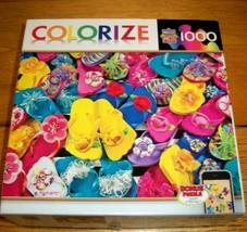 Jigsaw Puzzle 1000 Pieces Flip Flops Collage Art Colorful Flowers 1 Pc M... - $12.86