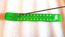 elephant sign screenprinted green long insence holder ideal for sticks or cones
