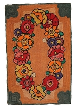 Hand made antique American hooked rug 2' x 3' ( 61cm x 91cm ) 1940s 1C21 - $250.00