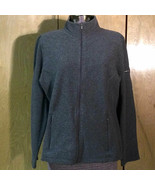 L.L. Bean Gray Fleece Full-Zip Long Sleeve Jacket Zipper Pockets Petite Large - $28.71