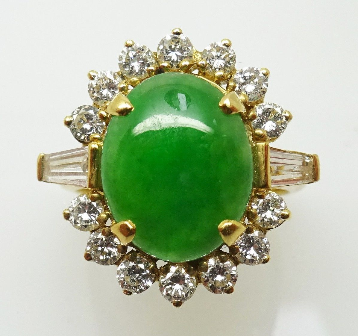Primary image for 18k Gold Oval Jade Ring with .33ct Diamonds (#3453)
