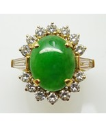 18k Gold Oval Jade Ring with .33ct Diamonds (#3453) - $3,073.73
