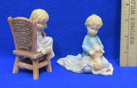 Foundations Figurines Girl Sitting in Chair & Boy w/ Puppy Prayer Lot 2 ... - $9.89
