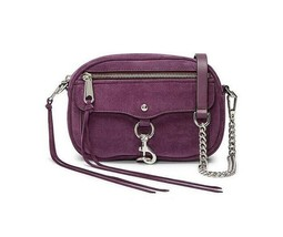 NWT Rebecca Minkoff Blythe Suede Leather Crossbody Bag Aubergine Purple ... - $99.00