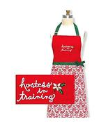Kay Dee Red Christmas Apron Child Hostess in Training Designs - $20.99
