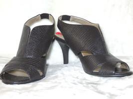 BANDOLINO Mikea Slingback Black Textured Cutout Sandal Heels 6 M NEW - $29.70