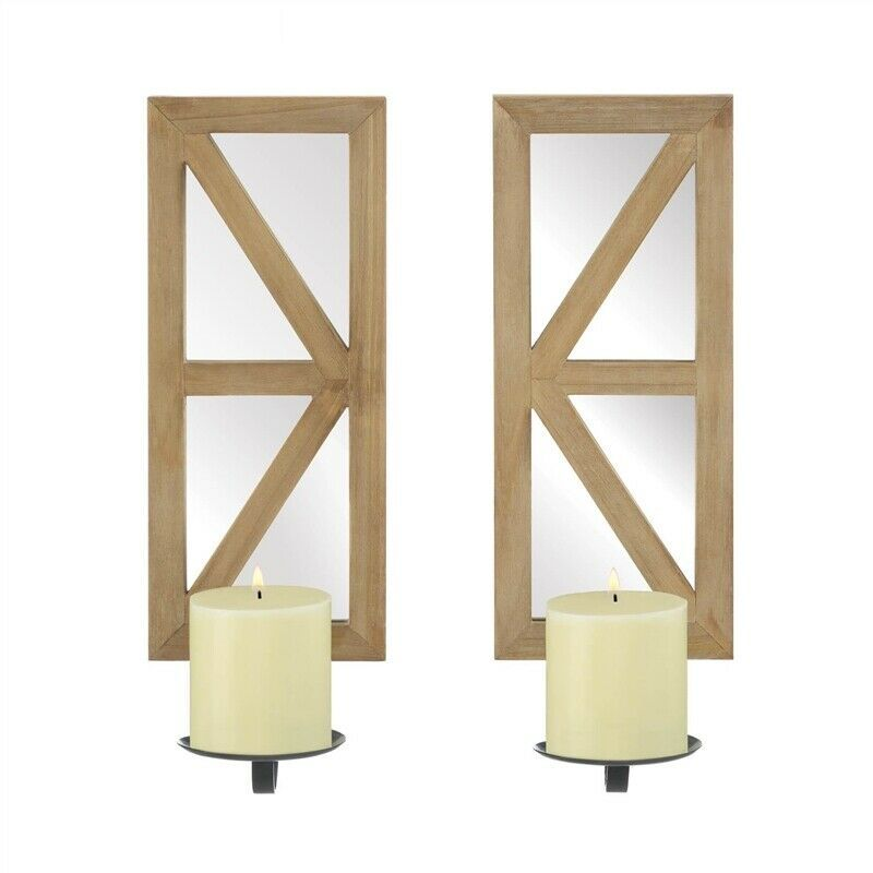 Mirrored Rectangular Wood Candle Wall Sconce Set of 2 - $49.82