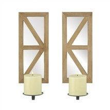 Mirrored Rectangular Wood Candle Wall Sconce Set of 2 - $72.33 CAD