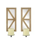 Mirrored Rectangular Wood Candle Wall Sconce Set of 2 - $72.97 CAD