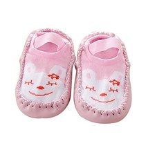 Baby Toddler Non-Slip Indoor Slipper Floor Socks Winter Warm Socks, 1 Pair (Pink
