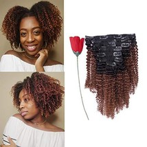 Natural Hair Clip In Hair Extensions Afro Kinky Curly Clip In Human Hair Extensi