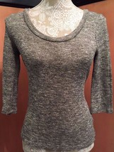 Anthropologie SPARKLE & FADE Grunge Gray Semi-sheer 3/4 Sleeve Tunic Top... - $28.79
