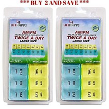 Large Weekly Pill Box- 7 Day Am/Pm Daily Pill Organizer BPA Free by Life... - $15.65