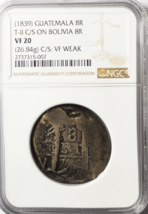 1839 Guatemala 8R T-II C/S Bolivia 8 Reales VF20 26.84g NGC Top Pop Coun... - $633.59