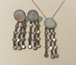 Earrings Necklace Set Blue Mother Of Pearl Sterling Silver Handmade Post... - $165.00