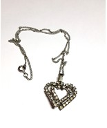 Double Heart Rhinestone Pendant Entwined Silver Chain Vintage Necklace - $15.29
