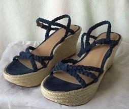 NEW Via Spiga Empire Cobalt Blue Suede Braided Knot Wedge  Sandals Sz 8 M - $68.31