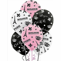 Day in PARIS Latex BALLOONS Bridal Shower 6PCS Weddiing Party Birthday Girl - $3.94