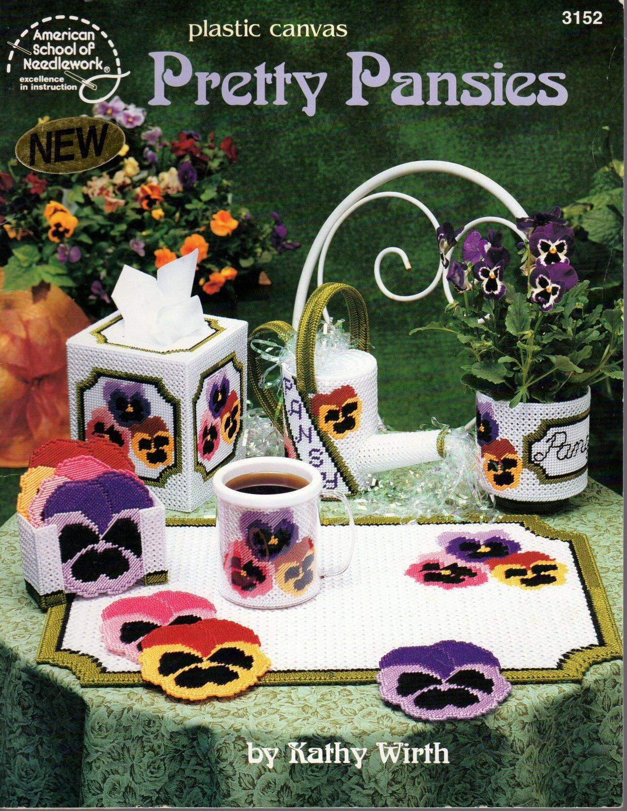 Primary image for American School Plastic Canvas Pretty Pansies Tissue Box Placemat Leaflet 3152