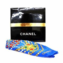 Chanel Scarf Stole Jewelry Gold Silver Pearl Accessory Blue Silk Auth Ra... - $5.194,95 MXN