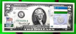 MONEY US $2 DOLLARS 2013 FRN SAN FRANCISCO COIN AND FLAG OF UZBEKISTAN G... - $60.48