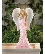 PINK ROSE Garden Angel Statue Solar Powered - $28.89