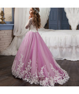 Long Sleeve  Flower Girls  Lace Dresses Purple Skirts First Communion Dr... - $75.00