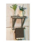 Galvanized Metal Shelf and Towel Wall Hanger Farmhouse Kitchen Bath Deco... - $59.99