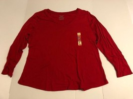 Women V Neck Tee Shirt 2X Plus Size Red Long Sleeve Top - $11.98