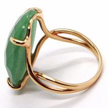 SOLID 18K ROSE GOLD RING, BIG GREEN AVENTURINE, CUSHION OVAL CUT MADE IN ITALY image 3