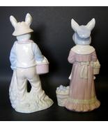 Easter Bunny Couple Figurine Set Porcelain Rabbit Eggs Multi-colored Pas... - $34.99