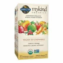 Garden of Life Mykind Organics Vitamin D3 Chewables, Raspberry-Lemon, 30 CT. - $25.73