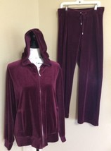 Jones New York Sport Maroon Plush Warm-up Velour Pant 34 x31 /jacket sz ... - $23.38