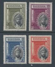 1936 Sultan Chalifa bin Harub Set of 4 Zanzibar Stamps Catalog Number 214-17 MNH