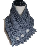 Irish knit cabled neck warmer, gray bulky super wash merino, pewter butt... - $39.00