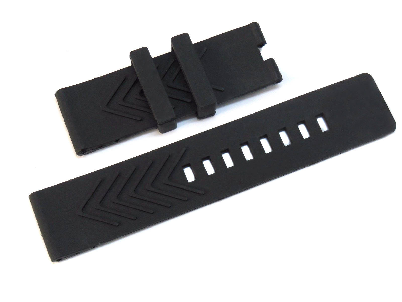 24mm Triple Pin(hole) Black Rubber Watch Strap Band for Jacob&co Epic