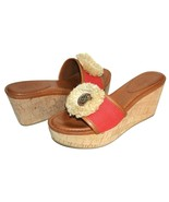 ✿ COACH Est. 1941 Jazmin Red Canvas Leather Cork Wedge Sandal 7 B GREAT!... - $33.24