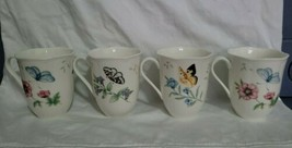 Lot 4 Lenox Butterfly Meadow Coffee Mugs Scalloped Edge Dragonfly Monarc... - $31.00