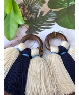 White Blue Tassel earrings with wood rings, Tribal handmade jewelry - $15.99