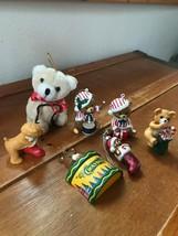 Lot of 7 Vintage to Now Plastic Crayola Hallmark Porcelain Teddy Bear Christmas  - $13.09