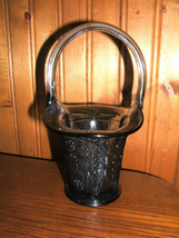 1980s FENTON GLASS Dark Blue Butterfly & Berry BASKET Limited Edition - $24.70