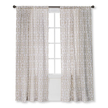 "NEW Threshold One Window Panel Cream/White Flocked Scroll 54""x84"" Window Curtain - $29.99"