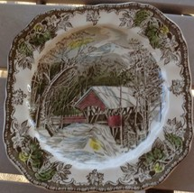 Vintage Johnson Bros.  Square Plate - The Friendly Village -VGC - Covered Bridge - $19.79