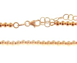 18K ROSE GOLD 3 MM BALLS CHAIN, 18 INCHES, SMOOTH SPHERES, MADE IN ITALY image 1
