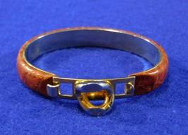 Vintage Bangle - Brown Alligator Leather - Gold Tone Link Accent - Hook ... - $12.50