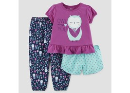 Carter's Just One You Girls Owl   Always Love You 3 Piece Pajamas 12M-5T... - $11.19