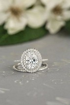 Certified 2.70Ct Oval Diamond Halo Engagement Wedding Ring in 14K White ... - $284.48